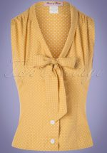 50s Elena Dot Blouse in Marigold Yellow