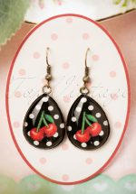 50s Cherry Drop Earrings in Black and Red