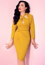 30s Golden Pencil Dress in Gold