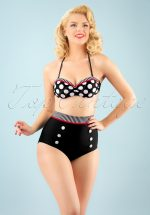 50s Debra Polkadot Stripes Bikini Pants in Black and White