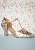 50s Monaco T-Strap Pumps in French Champagne