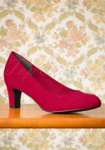 40s Sally Suedine Pumps in Lipstick Red