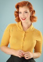 40s April Bow Cardigan in Mustard Yellow