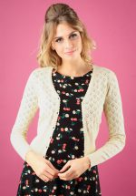 40s Heart Ajour Cardigan in Cream