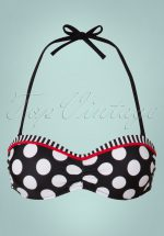 50s Debra Polkadot Stripes Halter Bikini Top in Black and White