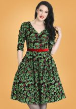 50s Holly Berry Swing Dress in Black