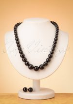 50s Natalie Bead Necklace Set in Black