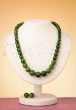 50s Natalie Bead Necklace Set in Green