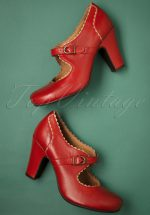 40s Kansas Leather Mary Jane Pumps in Red