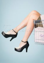 50s Angie Grow A Back Bow Pumps in Black and Cream