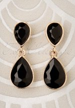 50s Constance Diamond Earrings in Black