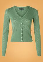 40s Heart Ajour Cardigan in Fir Green