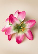 Pink Lily Flower Hair Clip