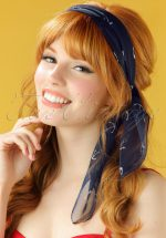 50s Sail Away Anchor Hair Scarf in Navy