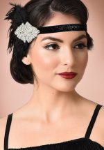 20s Gladys Coque Feather Headband in Black