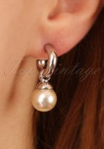 50s Betty Pearl Drop Earrings in Silver