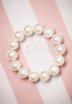 50s Betty Big Pearl Bracelet in Cream