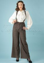 40s Glinda Librarian Check Trousers in Brown
