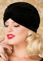 20s Warlock Velvet Turban Hat in Black
