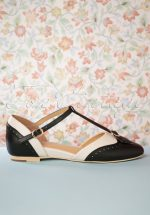50s Parisienne T-Strap Flats in Black and Cream