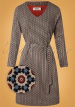 60s Fun Floral Dress in Blue and Brown