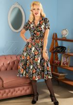 40s Caterina Forest Floral Swing Dress in Black