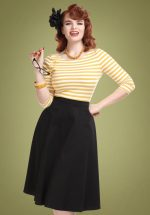 50s Cassie Classic Cotton Swing Skirt in Black