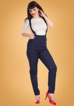 50s Dafne Denim Dungarees in Navy