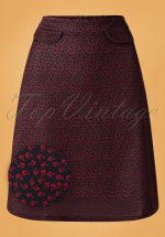 60s Graphic Skirt in Navy
