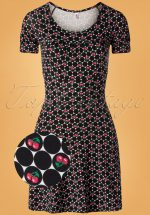 60s La Petite Dress in Super Cherry Dot Black