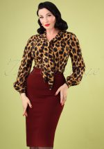 50s Classic Pencil Skirt in Wine