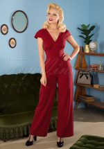 50s Venice Jumpsuit in Deep Red