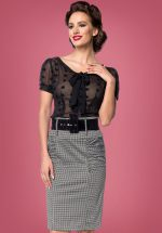50s Millie Houndstooth Pencil Skirt in Black and White