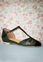 50s Toscana T-Strap Flats in Dark Green