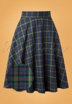 50s Happy Check Swing Skirt in Blue and Green