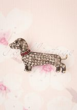 50s Sparkly Dachshund Brooch in Silver
