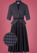 40s Panna Lee Houndstooth Swing Dress in Navy
