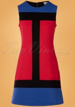 60s Eve Saint Florence Dress in Red and Blue