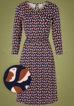 60s Beth Favourite Dress in Navy and Brown