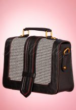 50s Betty Does Country Houndstooth Satchel Bag in Black