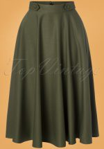50s Di Di Swing Skirt in Olive Green