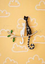 50s Cat Date Brooch in Black and White