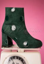 60s Come On Eileen Polkadot Booties in Bottle Green