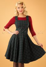 40s Peebles Pinafore Tartan Dress in Green