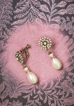 30s Miriam Haskell Pearl Drop Clip Earrings in Gold
