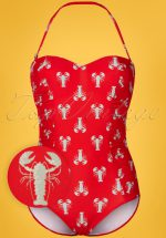 50s Lobster Halter Swimsuit in Red