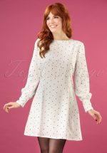 60s Dolly Dot Dress in White