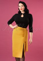 50s Francine Bow Pencil Skirt in Mustard