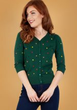 50s Diana Polkadot Cardigan in Dark Green