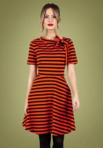 60s Marnie Striped Swing Dress in Red and Black